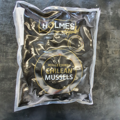 Mussels Whole in Shell Cooked Chilean 1kg FROZEN